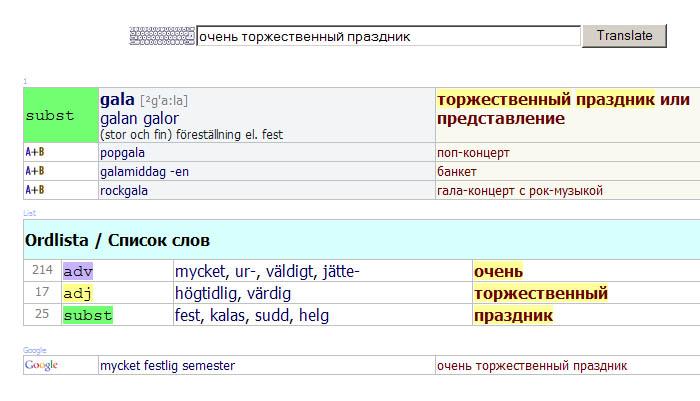 Словарь перевода предложений